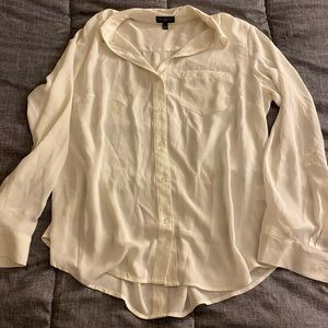 Sheer White Button Up Top